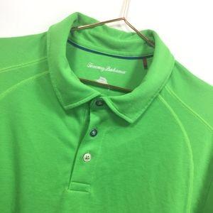 Tommy Bahama L Large Polo Shirt Green Short Sleeve